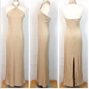 Cache Gold Shimmer Halter Maxi Dress 6